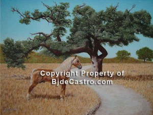 Oak and Morgan Stance, oil painting by Bj. deCastro