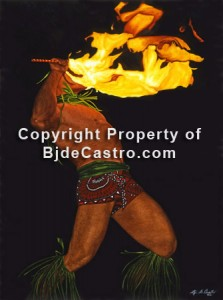 Watercolor painting, Fire-Knife Dance, Hawaii, by artist Bj. deCastro
